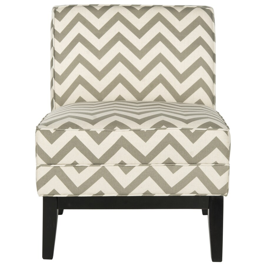 Safavieh Armond Casual Gray/White Zig Zag Linen Accent Chair