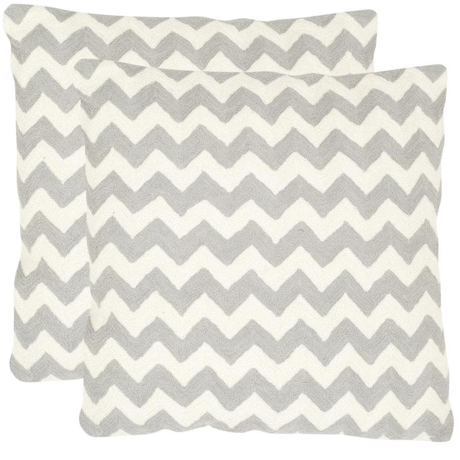 Safavieh Striped Tealea 2-Piece 18-in W x 18-in L Light Grey Square Indoor Decorative Pillow