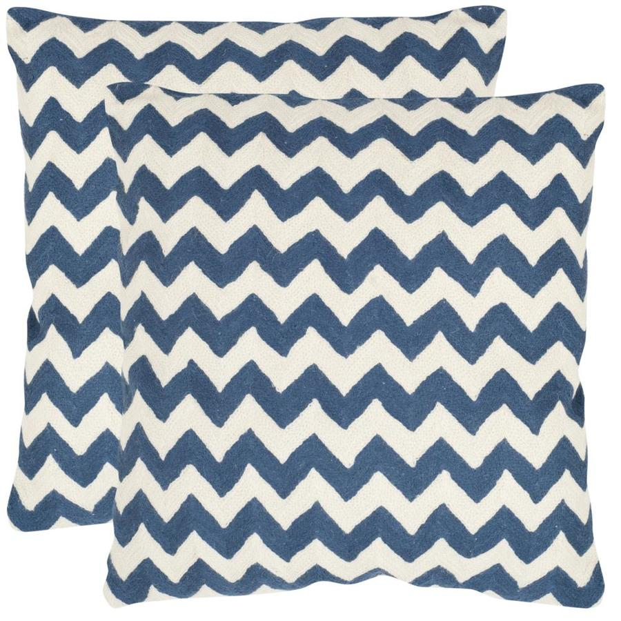 Safavieh Striped Tealea 2-Piece 18-in W x 18-in L Navy Blue Square Indoor Decorative Pillow