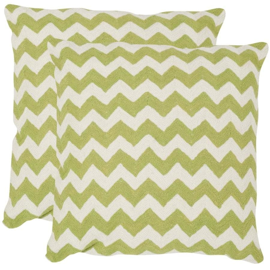 Safavieh Striped Tealea 2-Piece 18-in W x 18-in L Lime/Green Square Indoor Decorative Pillow