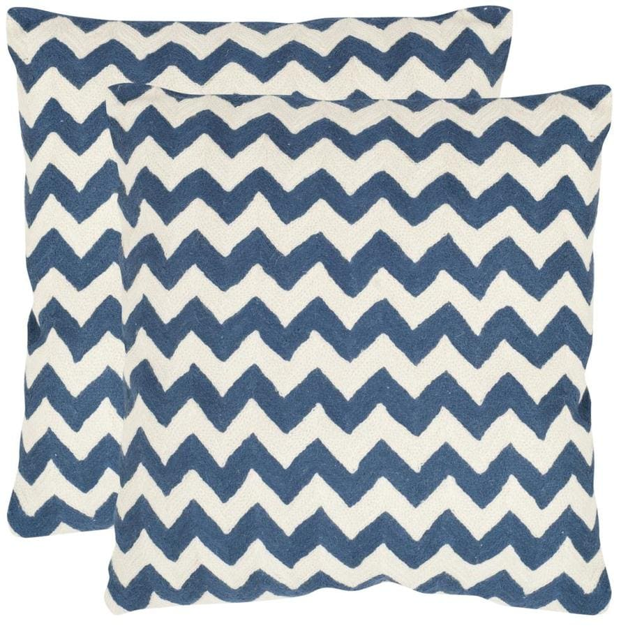 Safavieh Striped Tealea 2-Piece 22-in W x 22-in L Navy Blue Square Indoor Decorative Pillow