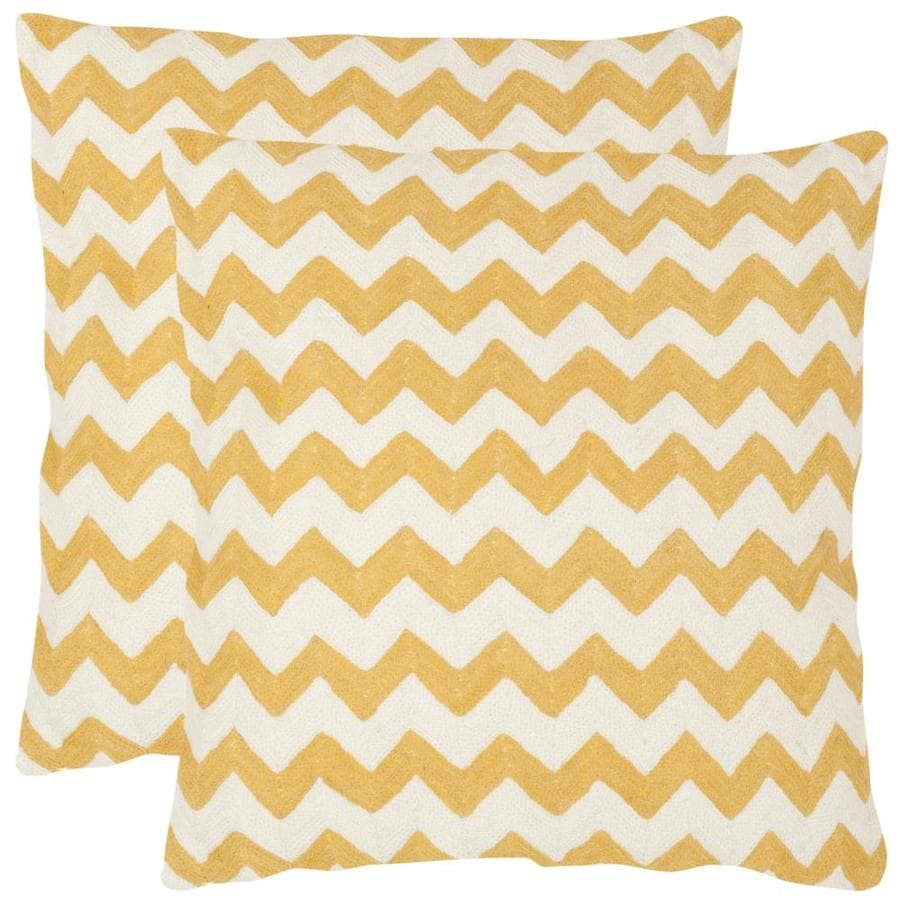 Safavieh Striped Tealea 2-Piece 22-in W x 22-in L Mustard Square Indoor Decorative Pillow