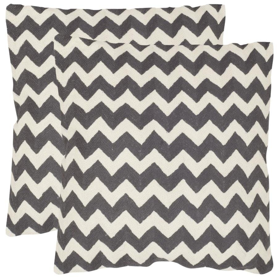 Safavieh Striped Tealea 2-Piece 22-in W x 22-in L Charcoal Square Indoor Decorative Pillow