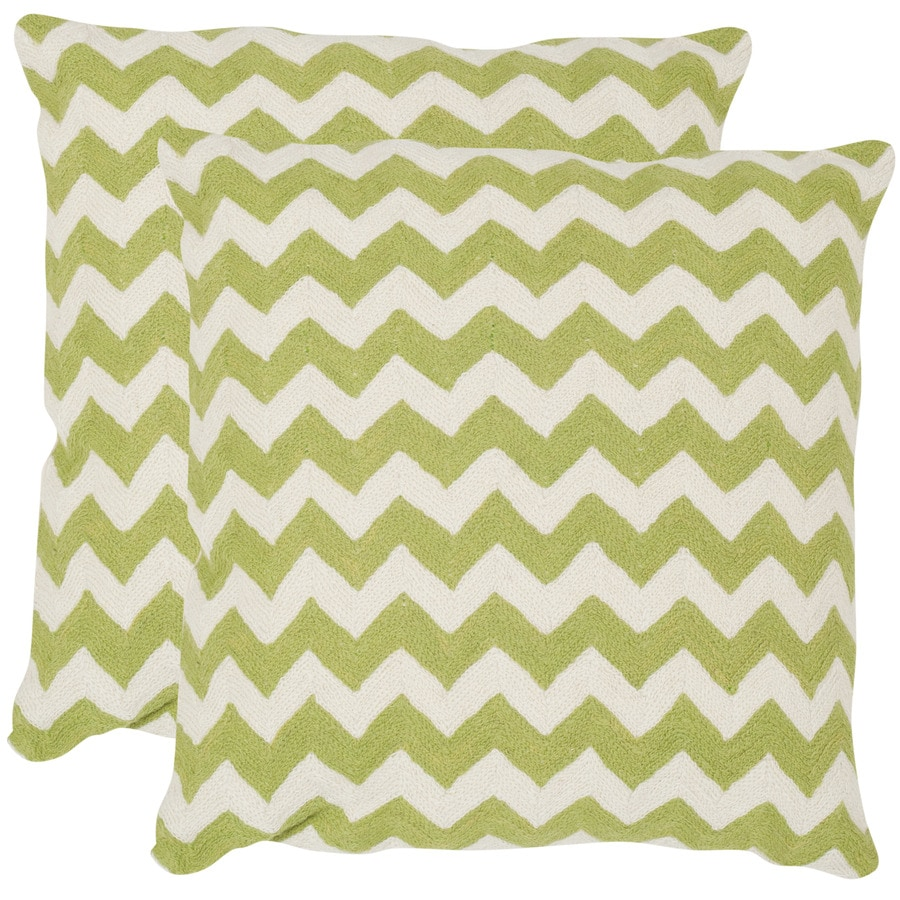 Safavieh Striped Tealea 2-Piece 22-in W x 22-in L Lime/Green Square Indoor Decorative Pillow