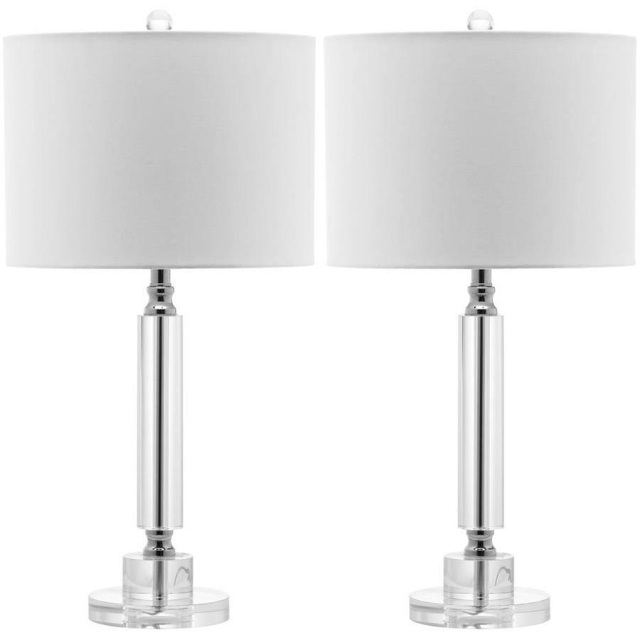 Safavieh Deco 25-in Clear Rotary Socket Table Lamp with Fabric Shade (Set of 2)