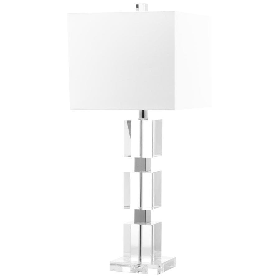 Safavieh Ice 28-in Clear Rotary Socket Table Lamp with Fabric Shade