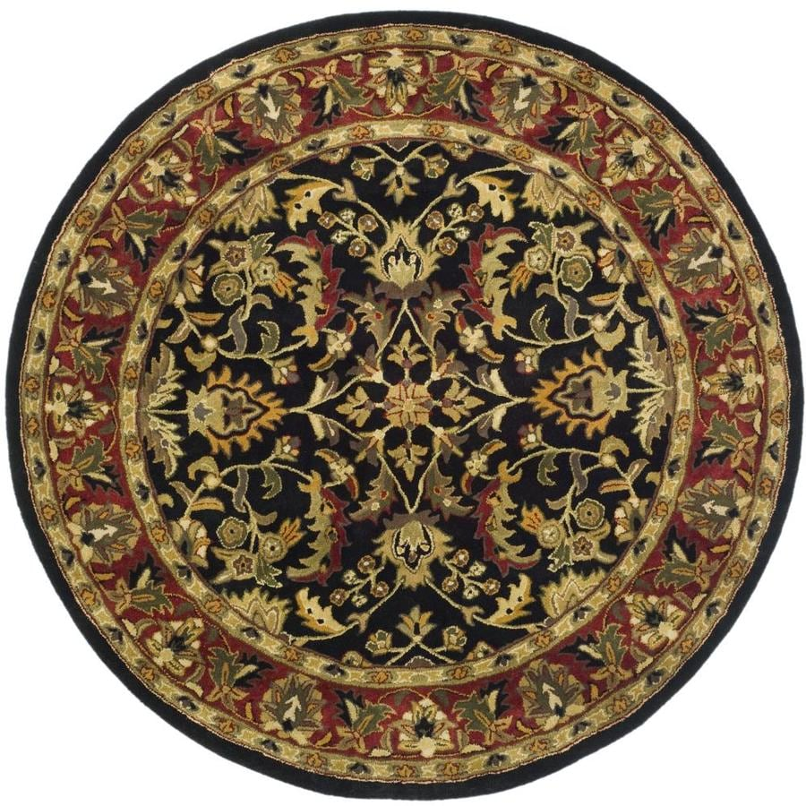 Safavieh Heritage Shiras Black/Red Round Indoor Handcrafted Oriental Area Rug (Common: 10 x 10; Actual: 10-ft W x 10-ft L x 10-ft dia)