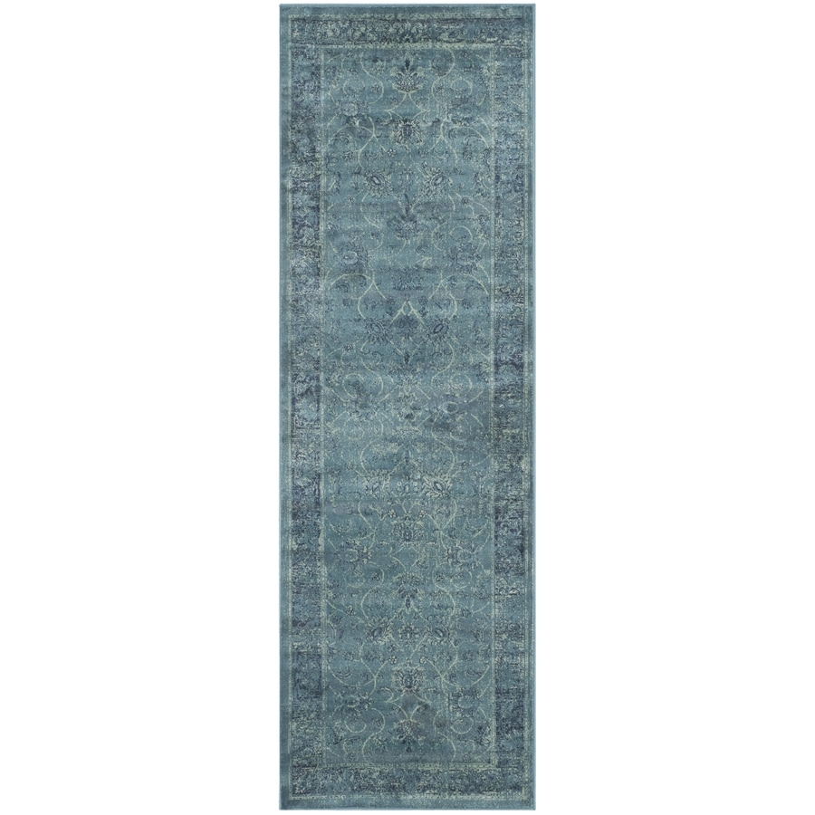 Safavieh Vintage Mosed Turquoise/Multi Rectangular Indoor Machine-made Distressed Runner (Common: 2 x 8; Actual: 2.2-ft W x 8-ft L)