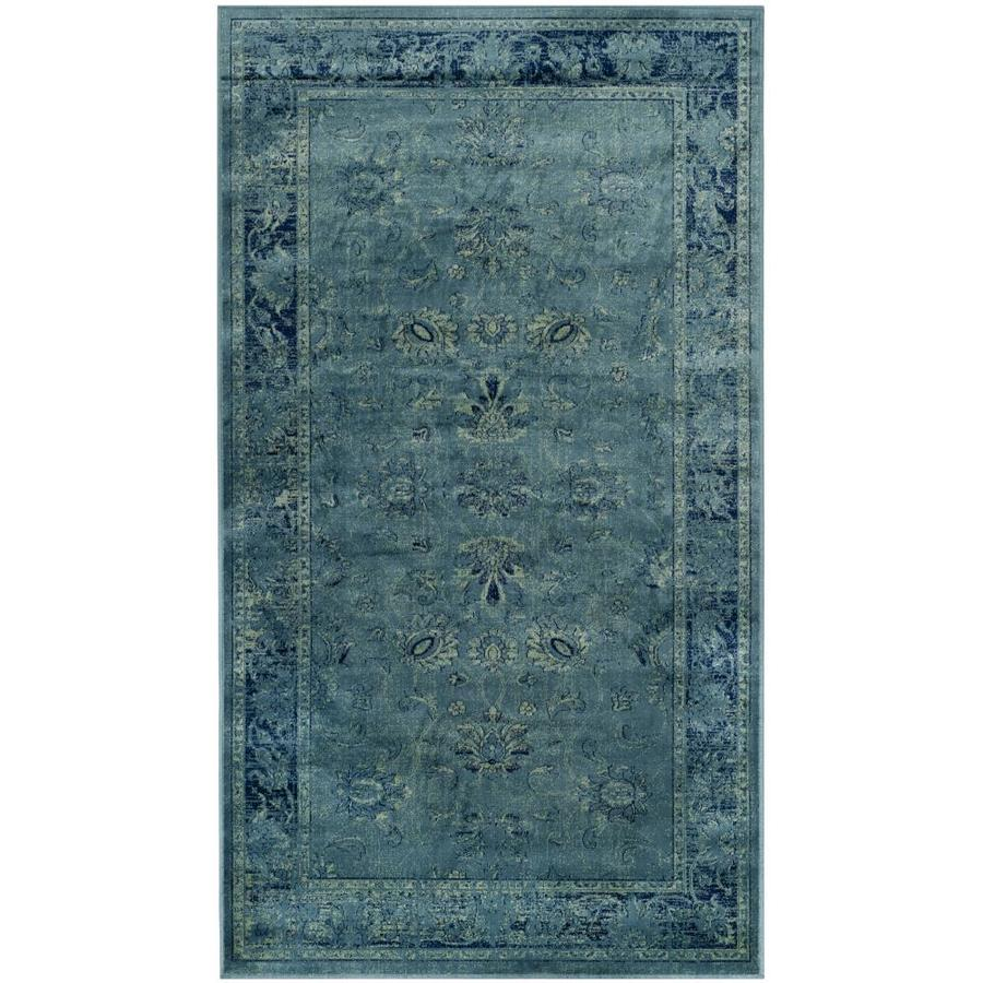 Safavieh Vintage Mosed Turquoise Indoor Distressed Throw Rug (Common: 3 x 5; Actual: 3.25-ft W x 5.6-ft L)