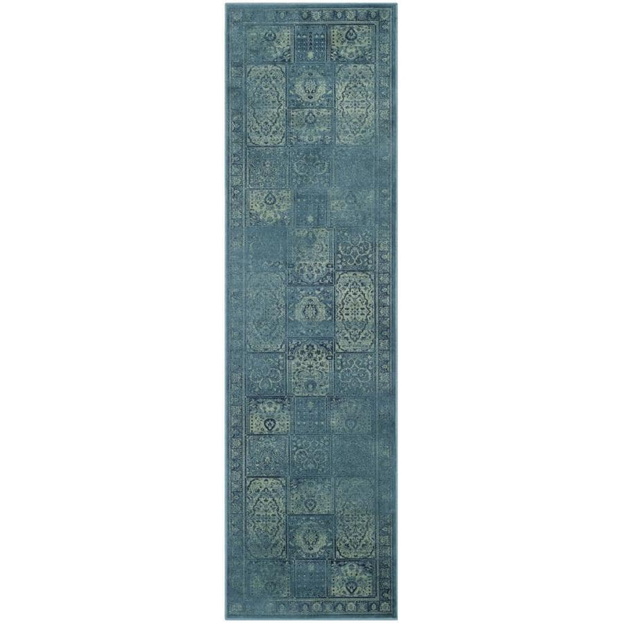 Safavieh Vintage Baktiari Turquoise Indoor Distressed Runner (Common: 2 x 8; Actual: 2.2-ft W x 8-ft L)