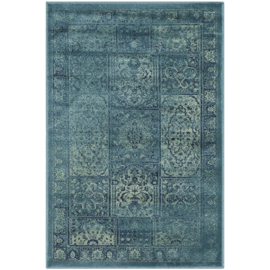 Safavieh Vintage Baktiari Turquoise/Multi Rectangular Indoor Machine-made Distressed Area Rug (Common: 4 x 6; Actual: 4-ft W x 5.6-ft L)