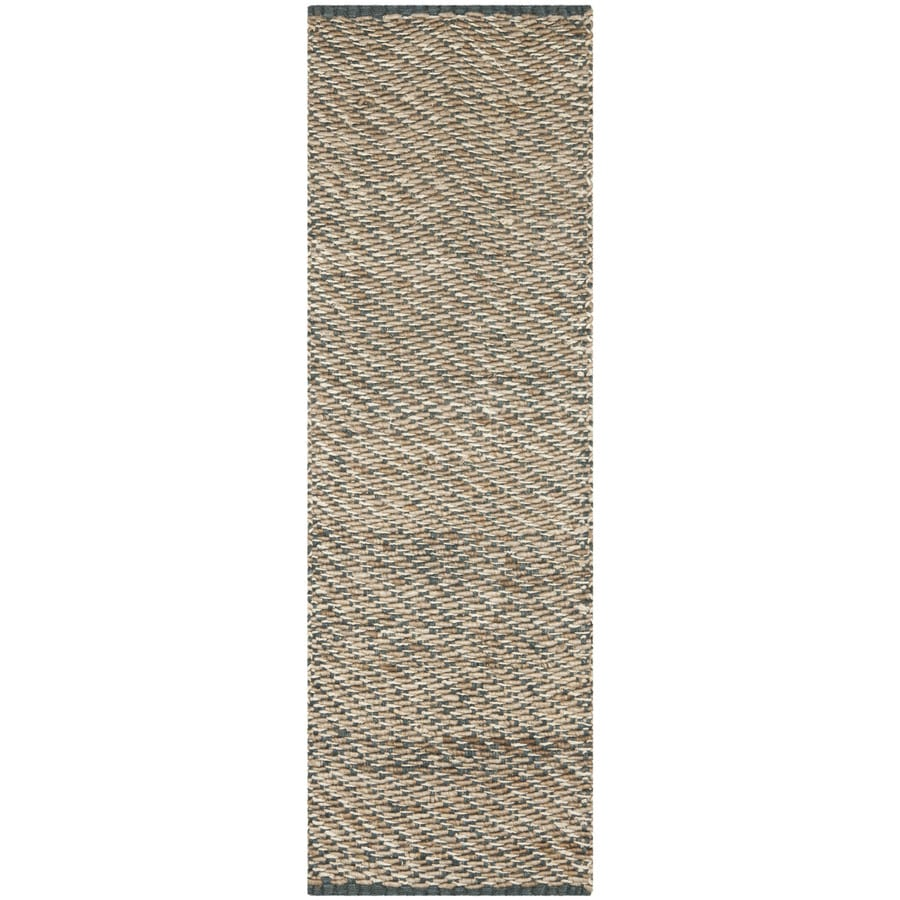Safavieh Natural Fiber Munsey Blue/Natural Indoor Handcrafted Coastal Runner (Common: 2 x 10; Actual: 2.5-ft W x 10-ft L)