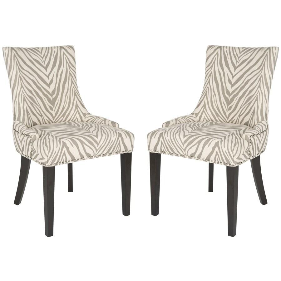 Safavieh Set of 2 Mercer Grey Zebra Side Chairs