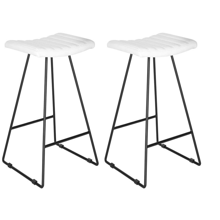 Safavieh Akito Set of 2 Modern White/Black Bar Stools