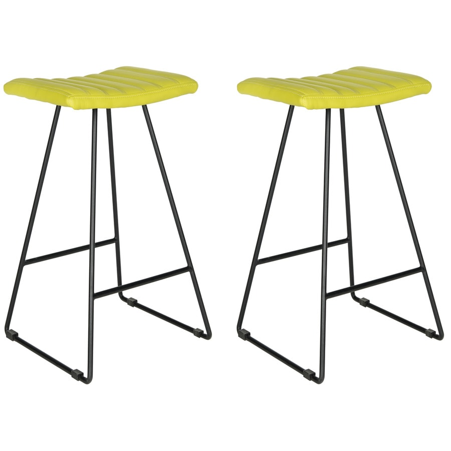 Safavieh Set of 2 Fox Green 30.7-in Bar Stools (27-in to 35-in)