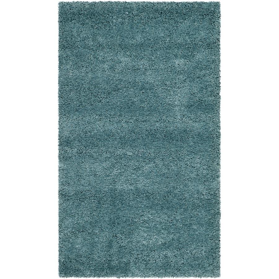 Safavieh Milan Shag Aqua Blue Indoor Throw Rug (Common: 3