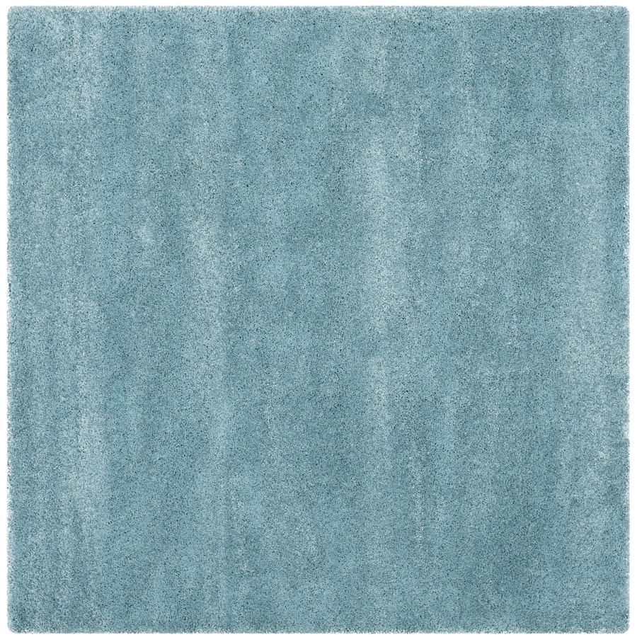 Safavieh Milan Shag Aqua Blue Square Indoor Area Rug (Common: 5 x 5; Actual: 5.1-ft W x 5.1-ft L)