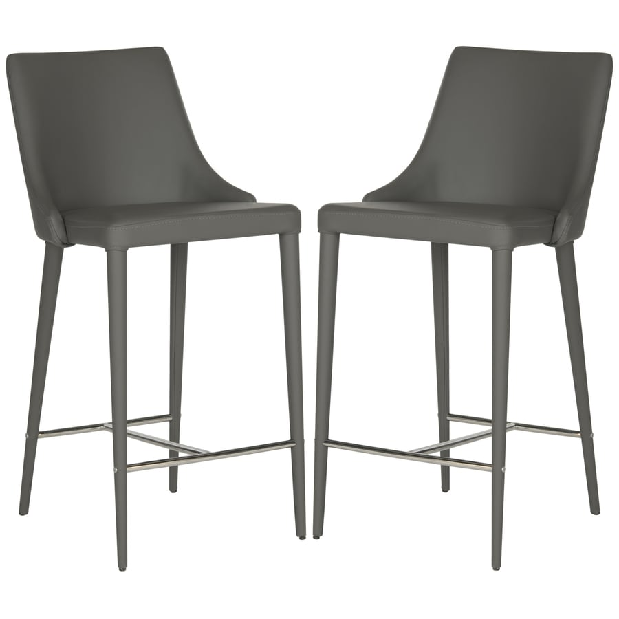 Safavieh Summerset Set of 2 Modern Gray/Chrome Counter Stools