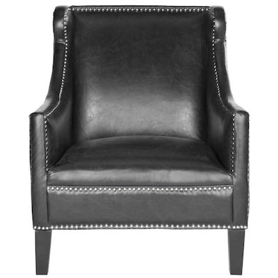 Pleasant Safavieh Mckinley Casual Black Faux Leather Accent Chair At Ocoug Best Dining Table And Chair Ideas Images Ocougorg