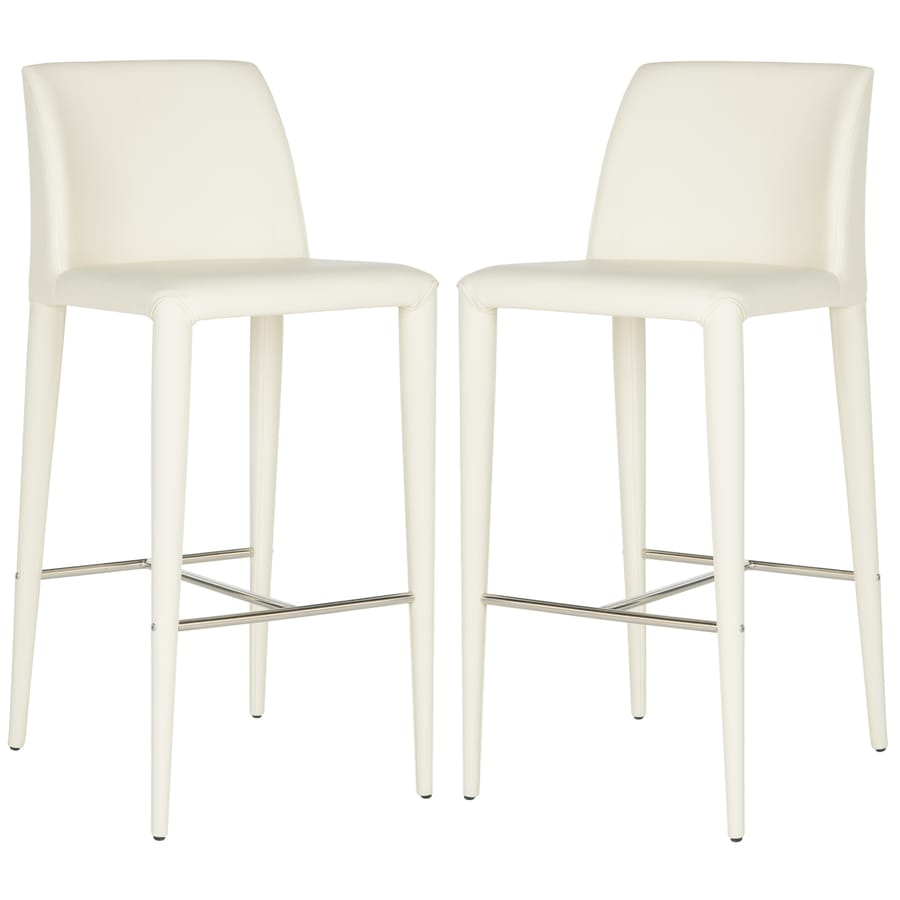 Safavieh Set of 2 Fox Buttercream 29.9-in Bar Stools (27-in to 35-in)