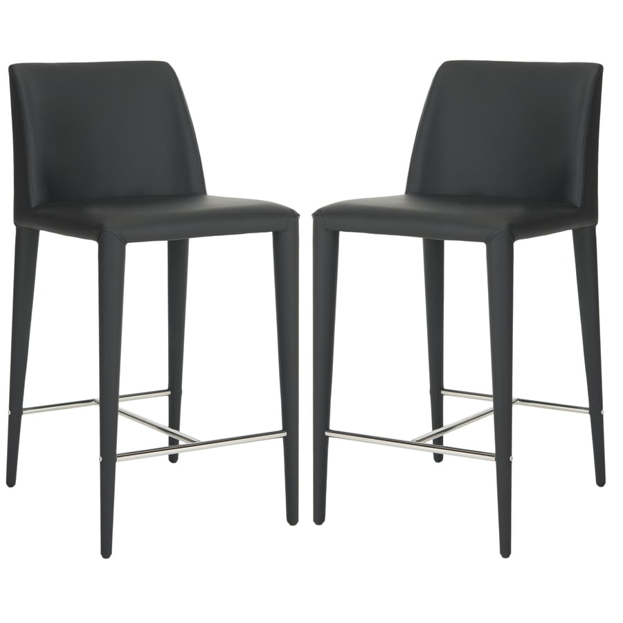 Safavieh Garretson Set Of 2 Black Chrome Counter Stools At