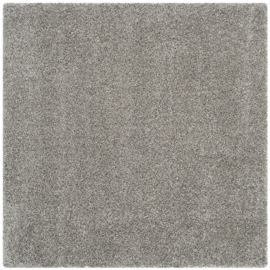 safavieh california shag silver square indoor machine made area rug common 4 x california shag black 4 ft