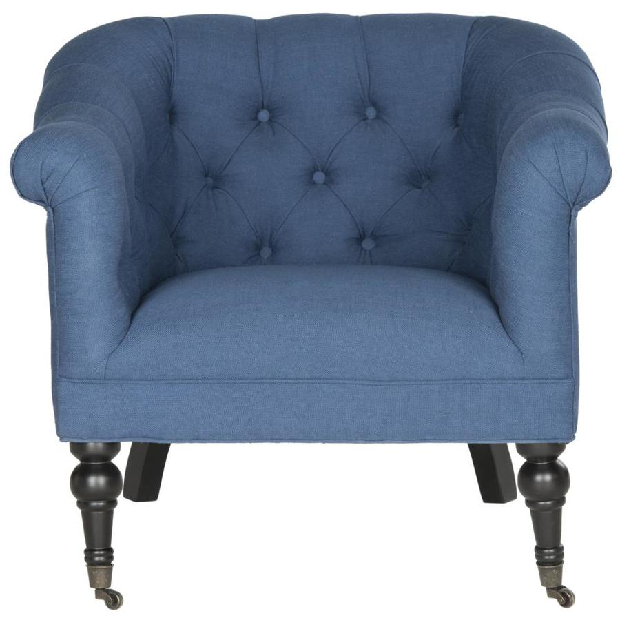 Safavieh Nicolas Modern Steel Blue Linen Accent Chair