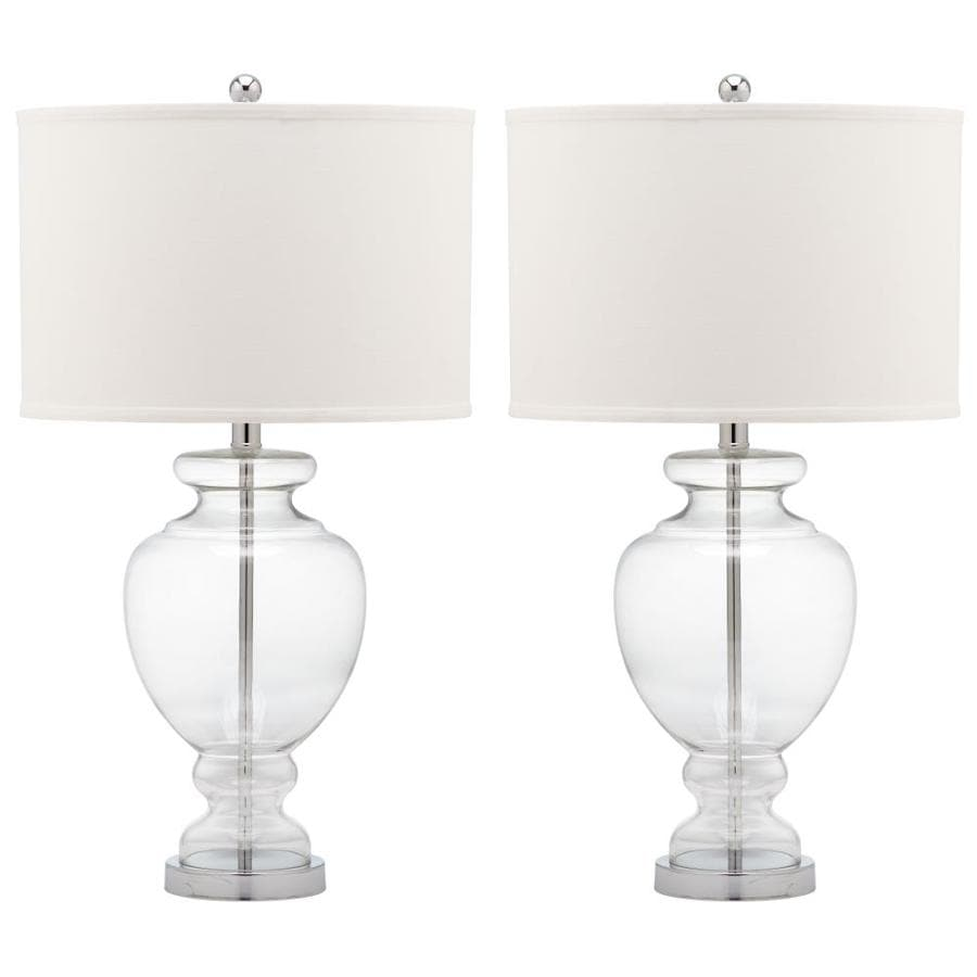 Safavieh Morocco 27-in Clear Rotary Socket Table Lamp with Fabric Shade (Set of 2)