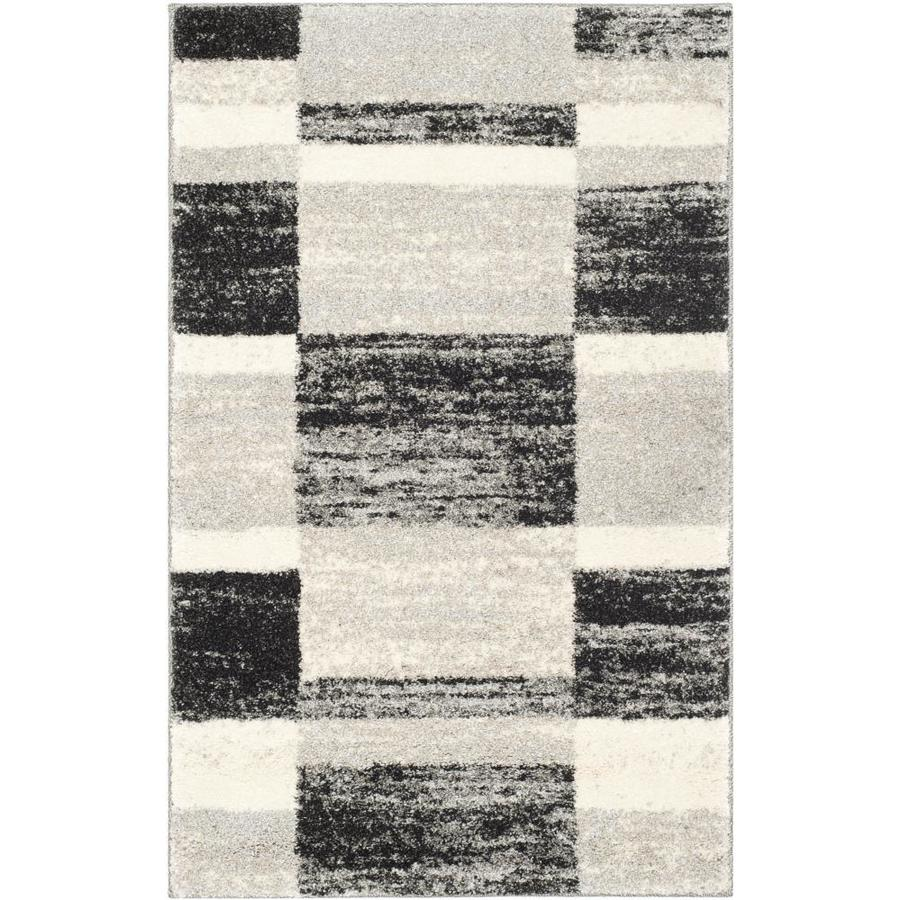 Safavieh Retro Shades Black/Light Gray Indoor Distressed Throw Rug (Common: 3 x 5; Actual: 3-ft W x 5-ft L)