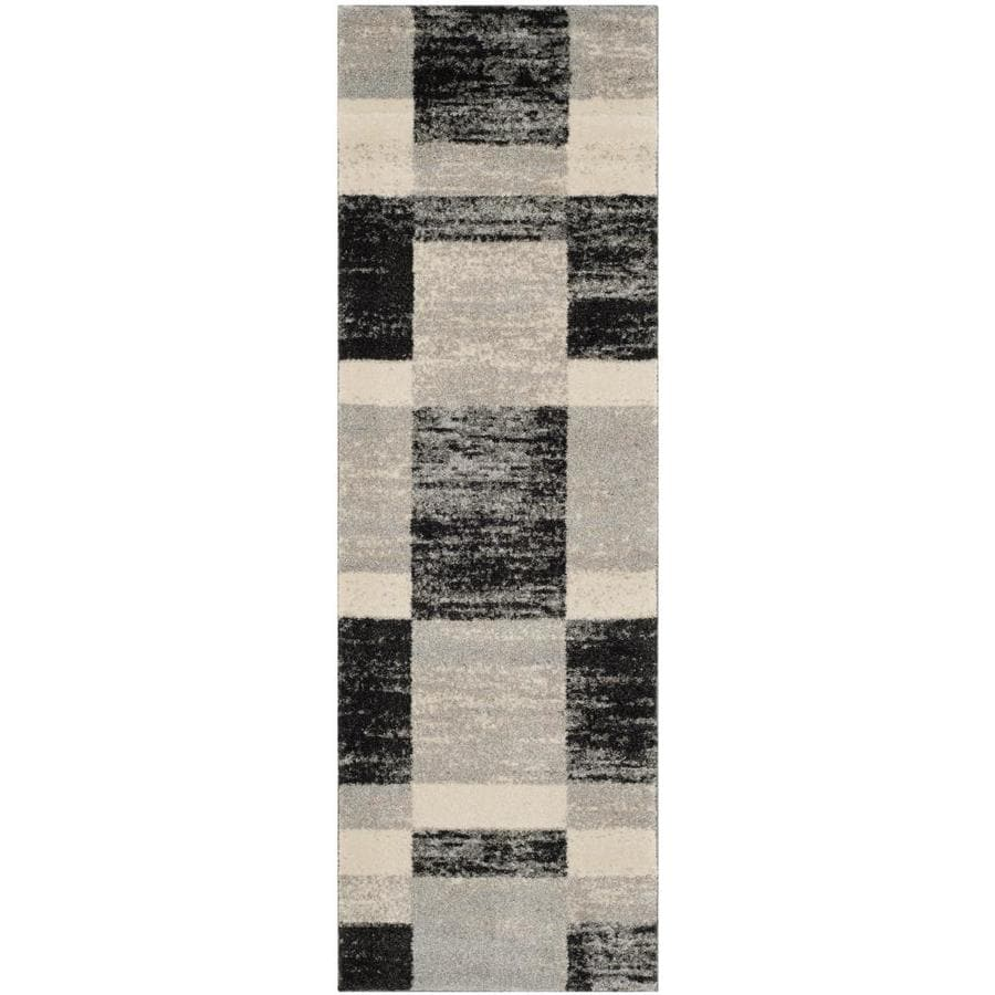 Safavieh Retro Shades Black/Light Gray Indoor Distressed Runner (Common: 2 x 11; Actual: 2.25-ft W x 11-ft L)