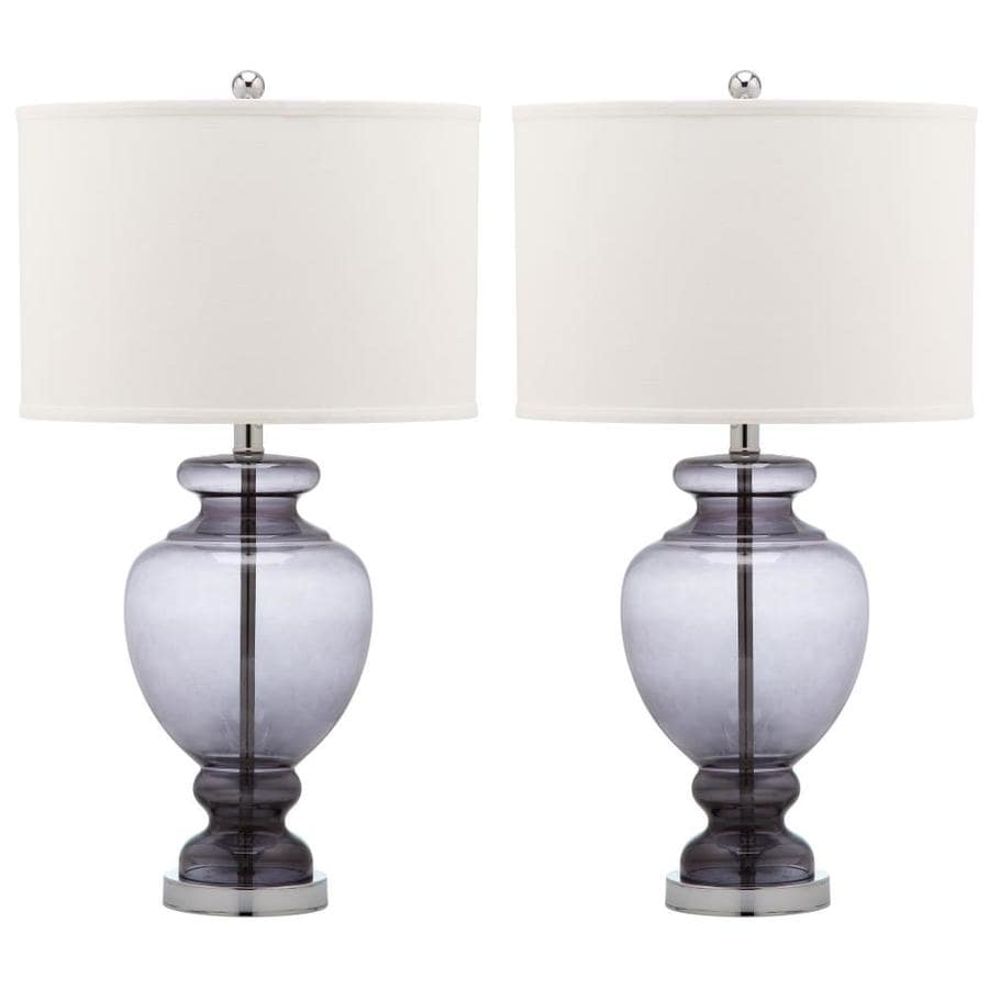 Safavieh Morocco 27-in Smoking Gray Rotary Socket Table Lamp with Fabric Shade (Set of 2)