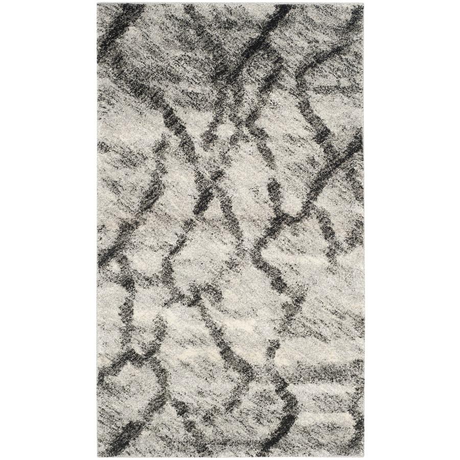 Safavieh Retro Mopani Gray/Black Rectangular Indoor Machine-made Distressed Throw Rug (Common: 3 x 5; Actual: 3-ft W x 5-ft L)