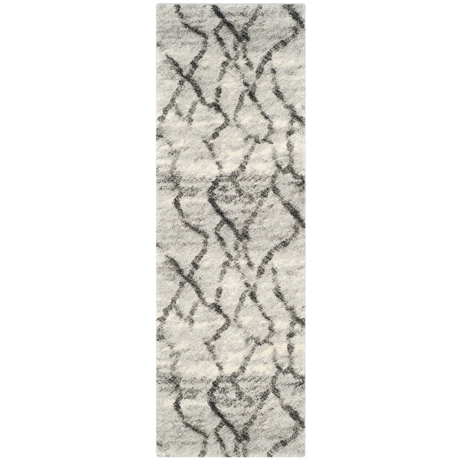 Safavieh Retro Mopani Gray/Black Rectangular Indoor Machine-made Distressed Runner (Common: 2 x 9; Actual: 2.25-ft W x 9-ft L)