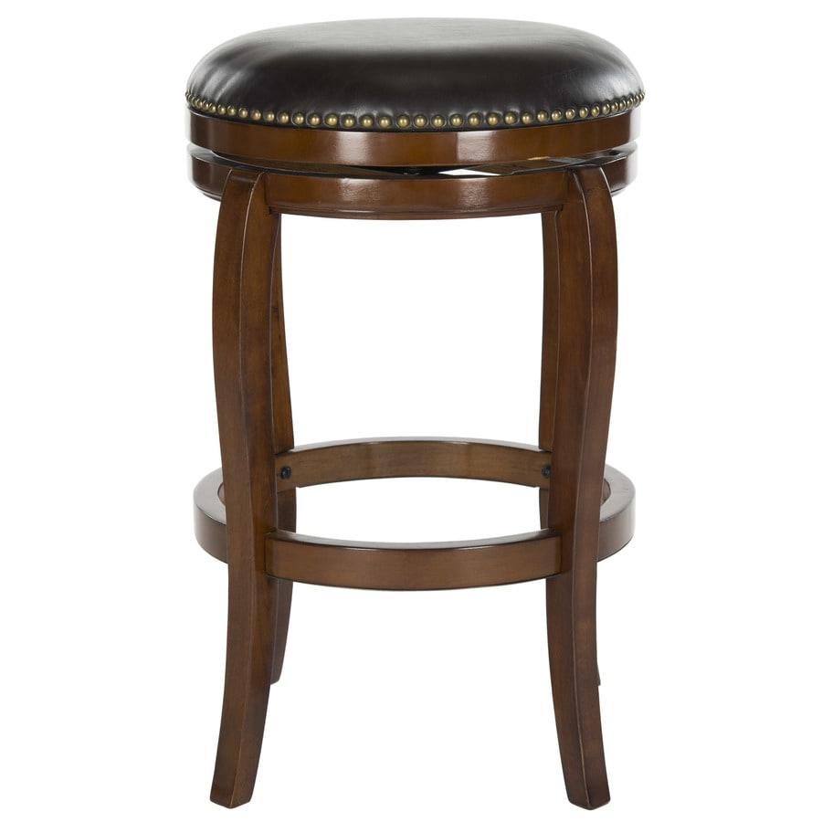 Safavieh Nuncio Modern Walnut/Brown Seat Bar Stool