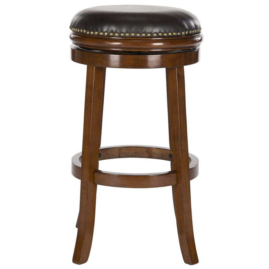 Safavieh Fox Walnut/Brown Seat 29-in Bar Stool (27-in to 35-in)