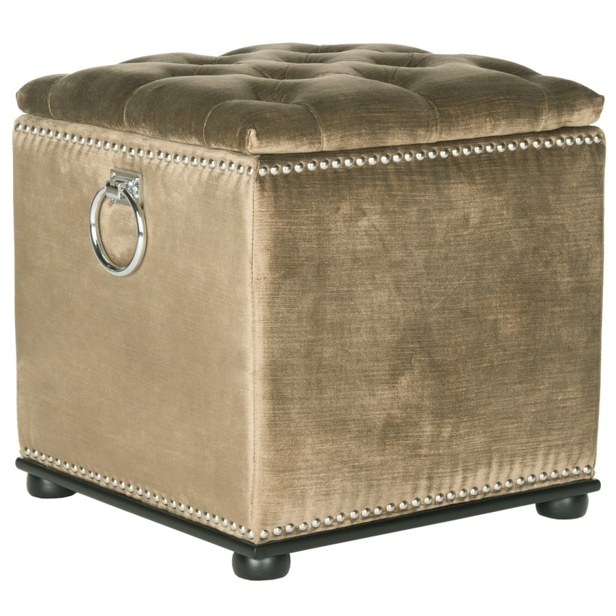 Safavieh Mercer Golden Olive Square Storage Ottoman