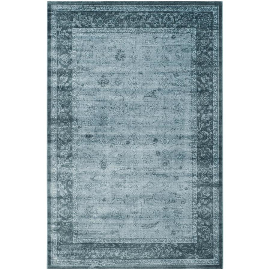Safavieh Vintage Light Blue/Dark Blue Rectangular Indoor Machine-Made Distressed Area Rug (Common: 5 x 7; Actual: 5.083-ft W x 7.5-ft L)