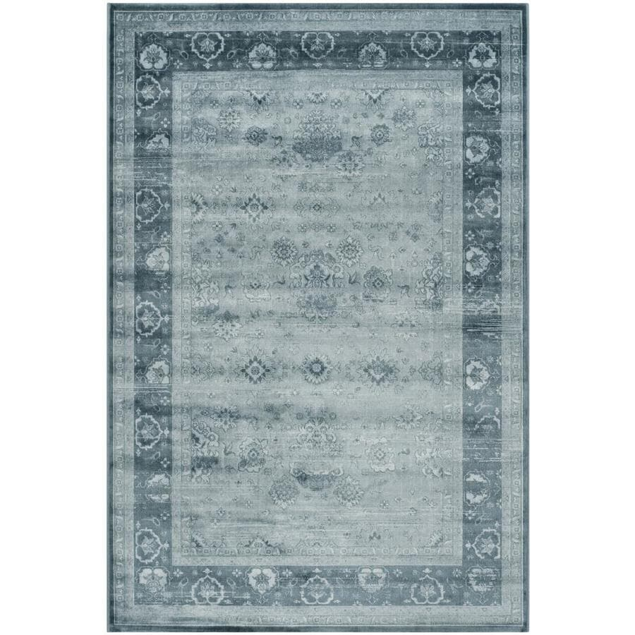 Safavieh Vintage Jewel Light Blue/Dark Blue Rectangular Indoor Machine-made Distressed Area Rug (Common: 5 x 7; Actual: 5.1-ft W x 7.5-ft L)