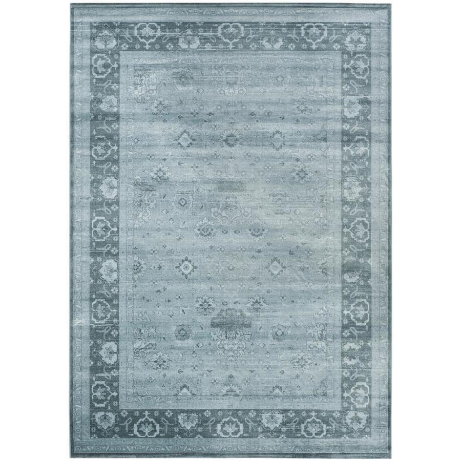 Safavieh Vintage Jewel Light Blue/Dark Blue Rectangular Indoor Machine-made Distressed Area Rug (Common: 9 x 12; Actual: 9-ft W x 12-ft L)