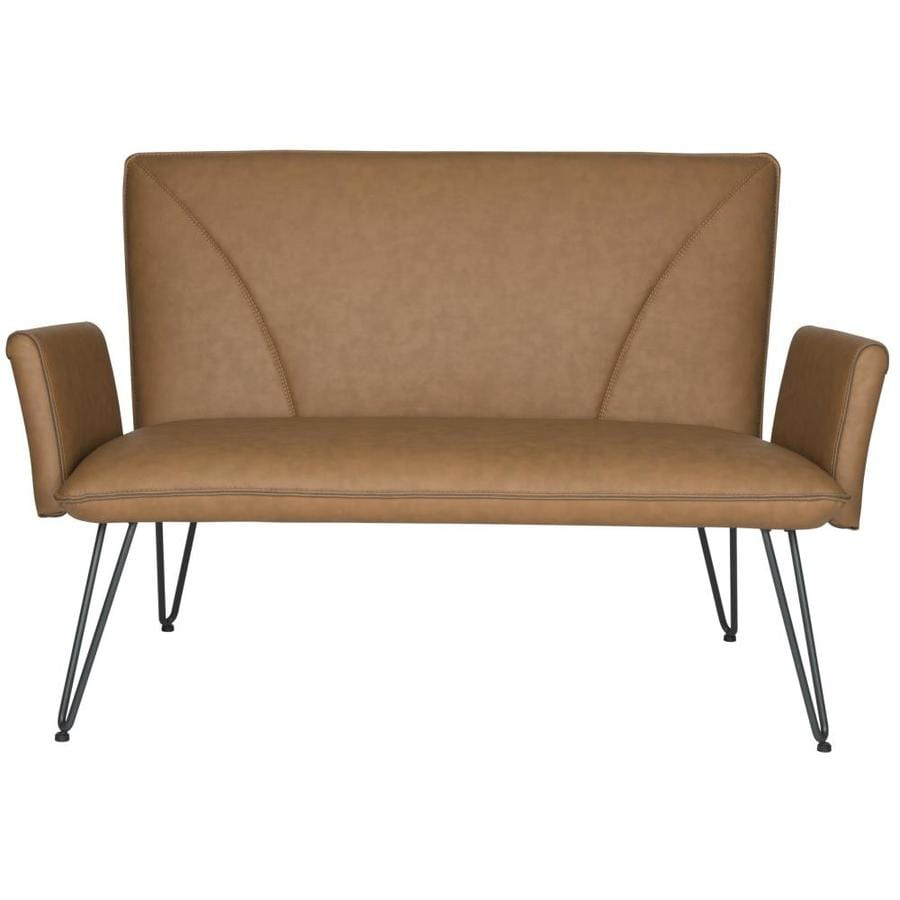Safavieh Fox Brown/Tan Bicast Leather Stationary Loveseat