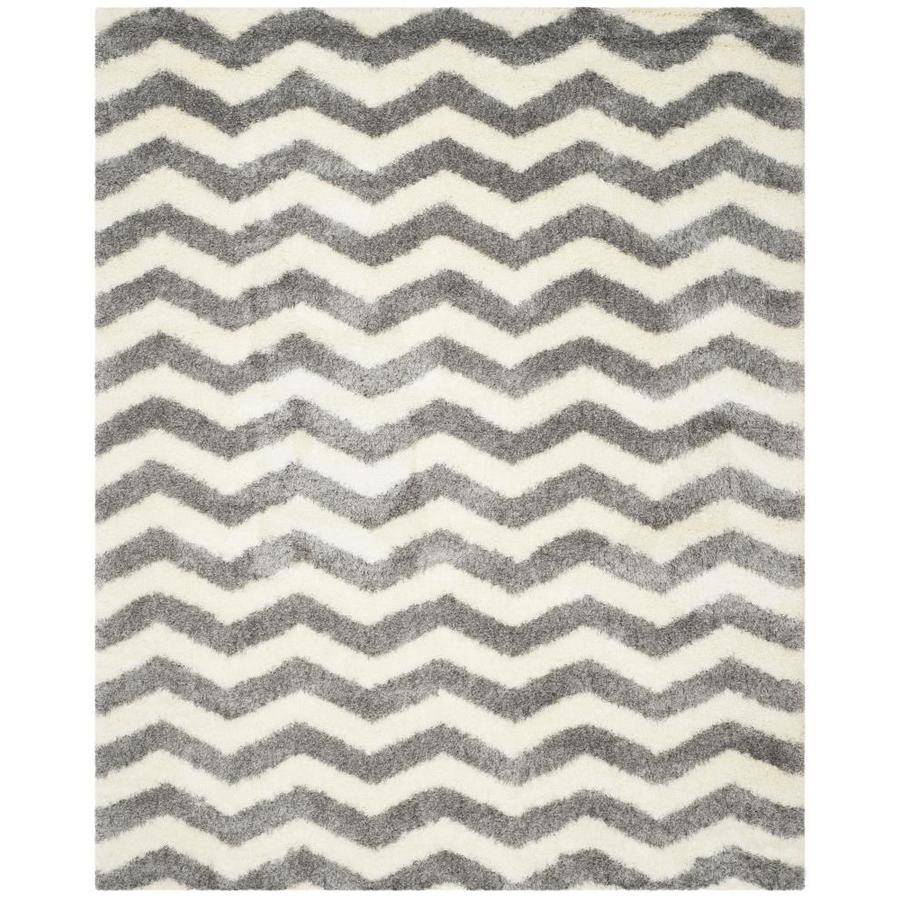 Safavieh Montreal Neuville Shag Ivory/Gray Rectangular Indoor Area Rug (Common: 8 x 10; Actual: 8-ft W x 10-ft L)