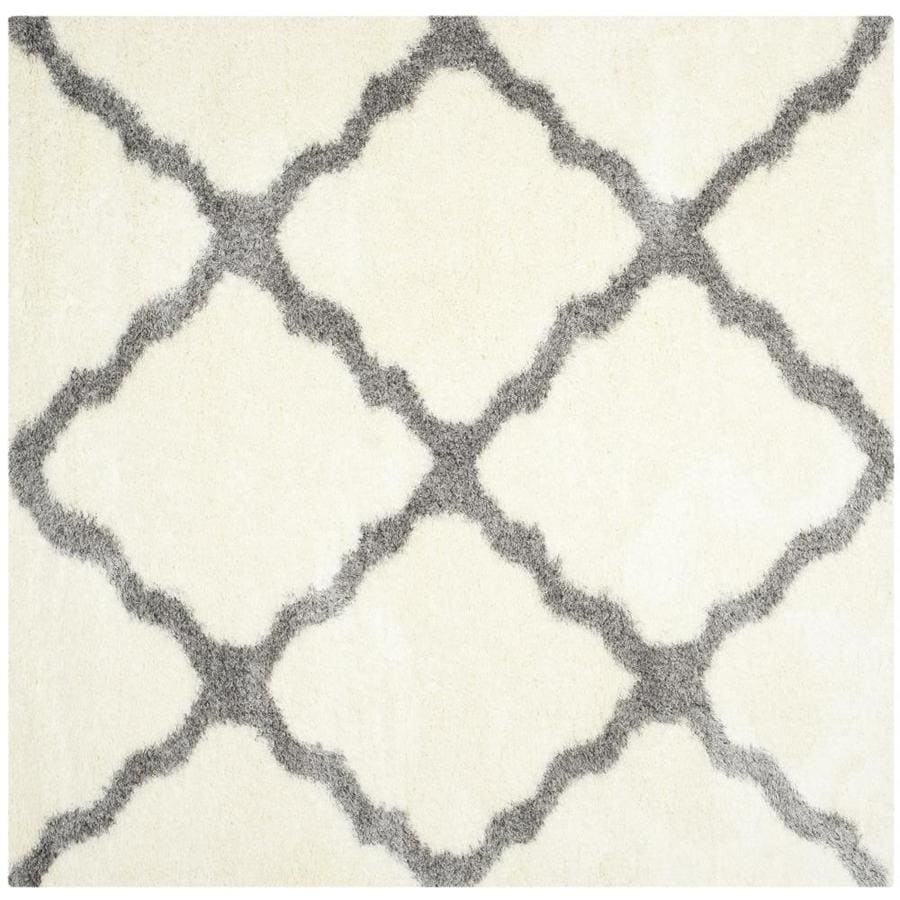 Safavieh Montreal Portneuf Shag Ivory/Gray Square Indoor Area Rug (Common: 7 x 7; Actual: 6.6-ft W x 6.6-ft L)