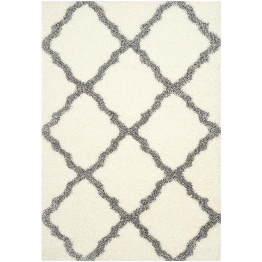 Safavieh Montreal Portneuf Shag Ivory/Gray Rectangular Indoor Area Rug (Common: 5 x 8; Actual: 5.3-ft W x 7.5-ft L)