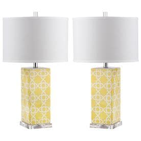 Safavieh Quatrefoil 27 In Yellow Rotary Socket Table Lamp With Fabric Shade  (Set Of