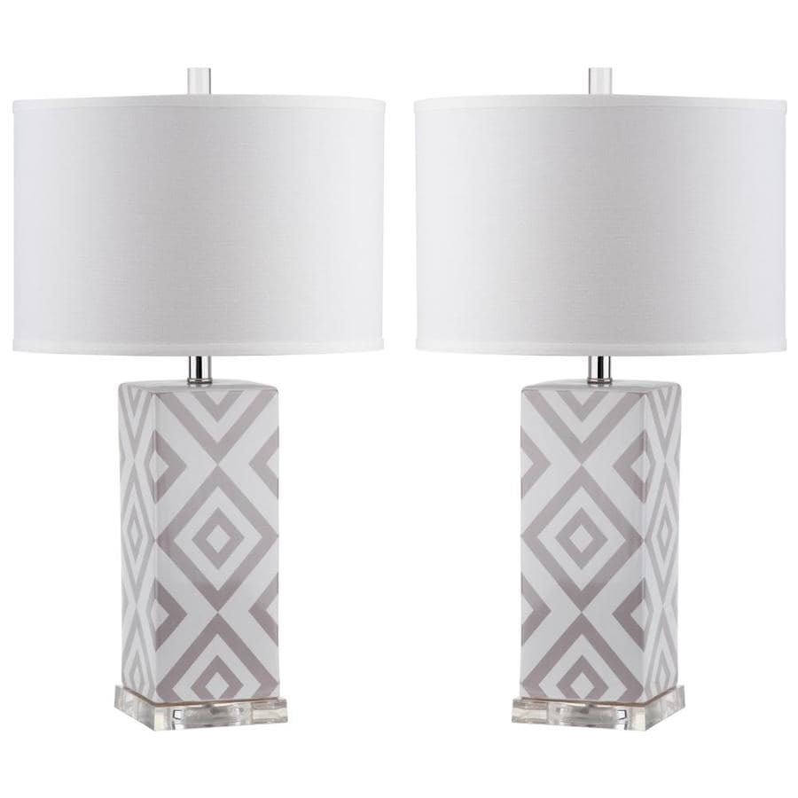 Safavieh Diamonds 2 Piece Lamp Set With Off White Shades