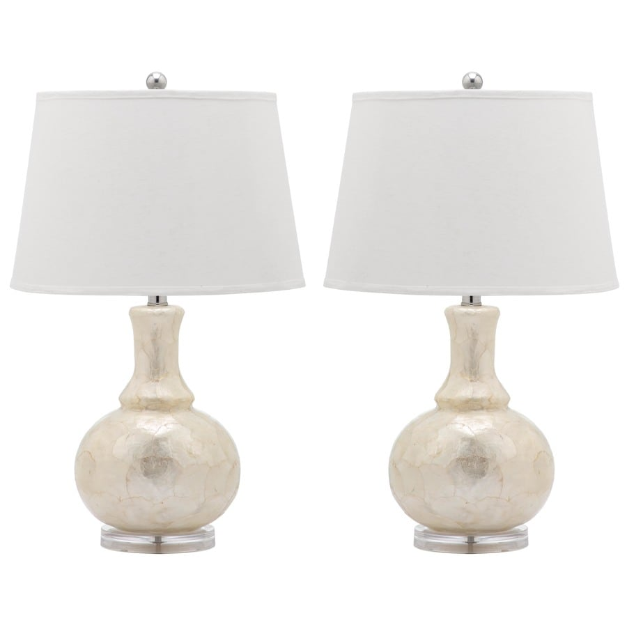 Safavieh Shelley 25-in White Rotary Socket Table Lamp with Fabric Shade (Set of 2)