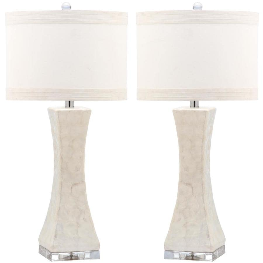 Safavieh Shelley 30-in White Rotary Socket Table Lamp with Fabric Shade (Set of 2)