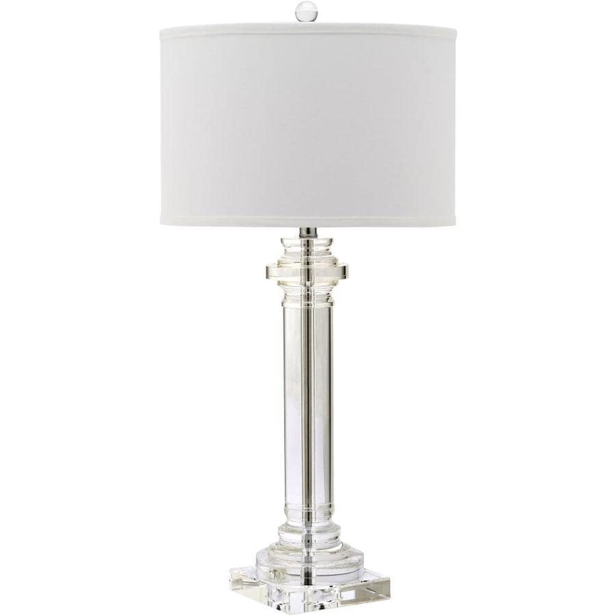 Safavieh Nina 30-in Clear Rotary Socket Table Lamp with Fabric Shade