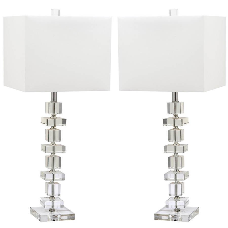 Safavieh Deco 2-Piece Crystal Lamp Set with Off-White Shades