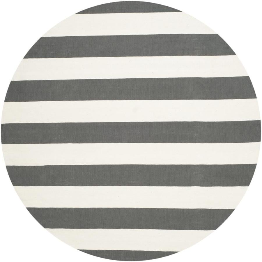 Safavieh Montauk Maslin Gray/Ivory Round Indoor Handcrafted Coastal Area Rug (Common: 6 x 6; Actual: 6-ft W x 6-ft L x 6-ft dia)